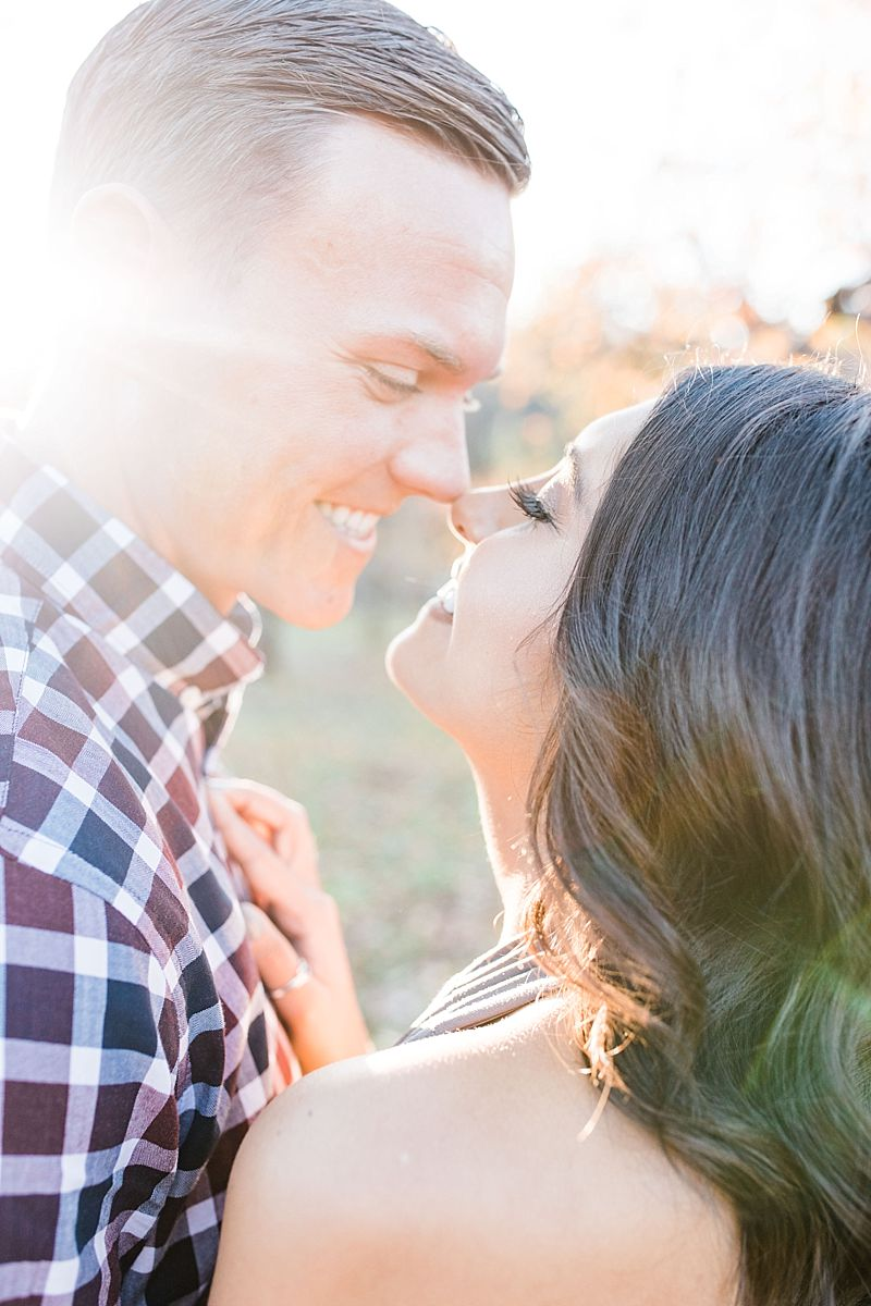 Apple Hill Engagement Session - Ashley Baumgartner - couple almost kissing