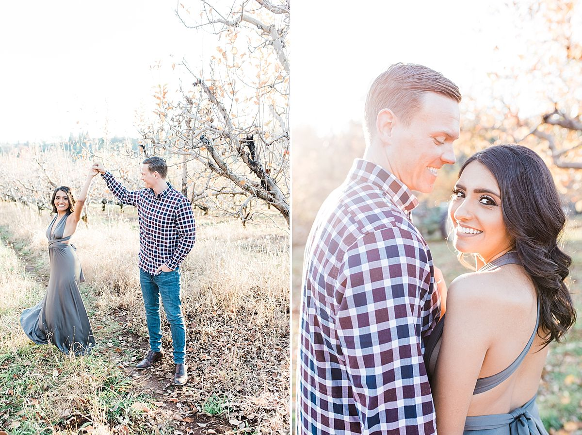 Apple Hill Engagement Session - Ashley Baumgartner - fiance twirling in grey dress