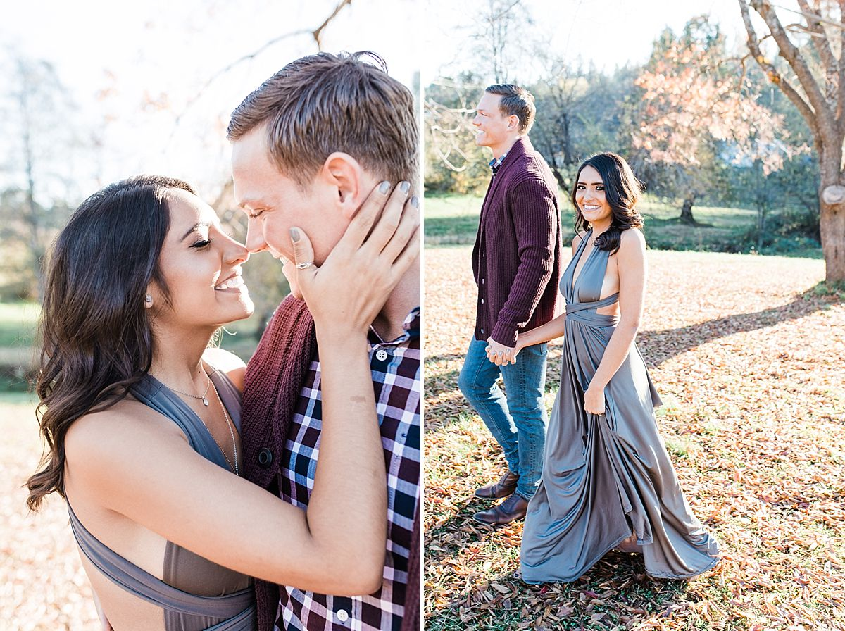 Apple Hill Engagement Session - Ashley Baumgartner - couple cuddling and walking