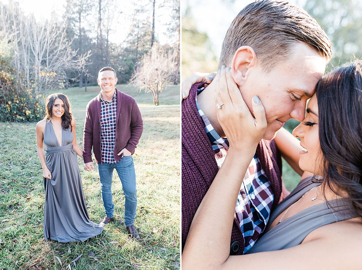 Apple Hill Engagement Session - Ashley Baumgartner - fun moments with a fun couple in plaid and a grey dress