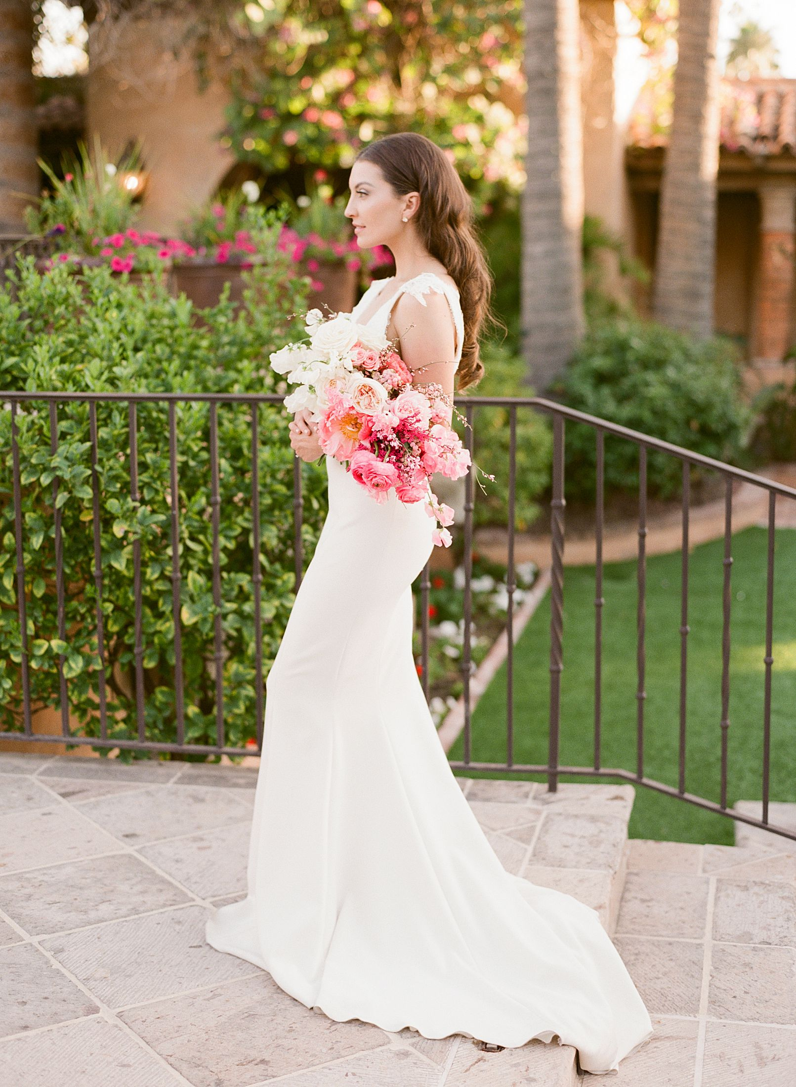 Pink Ombre Wedding Inspiration on Style Me Pretty - Royal Palms Wedding - Scottsdale Wedding - Ashley Baumgartner - Bloom and Blueprint - Wedding Puppies - Bulldog Puppies_0003.jpg