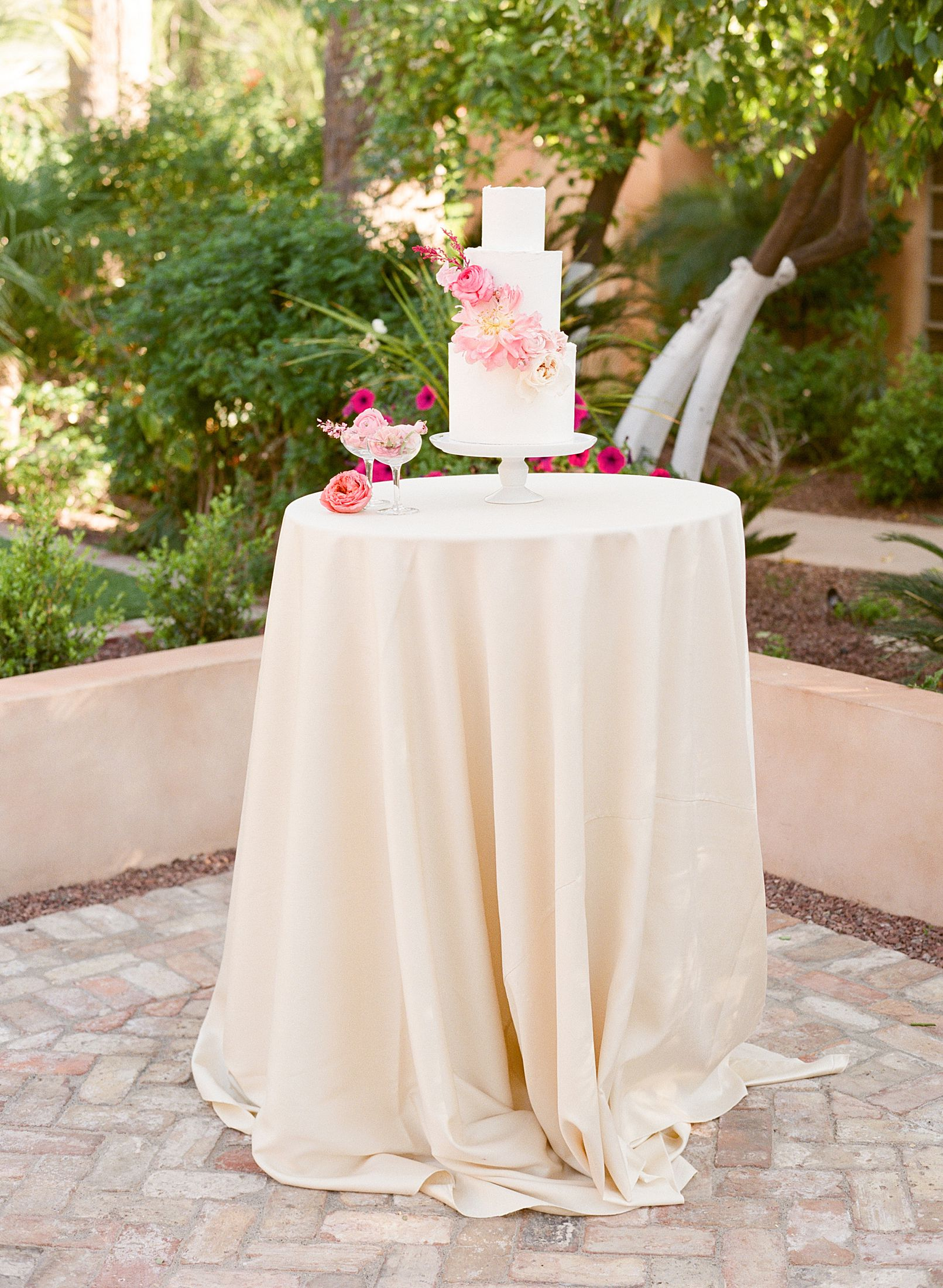 Pink Ombre Wedding Inspiration on Style Me Pretty - Royal Palms Wedding - Scottsdale Wedding - Ashley Baumgartner - Bloom and Blueprint - Wedding Puppies - Bulldog Puppies_0007.jpg