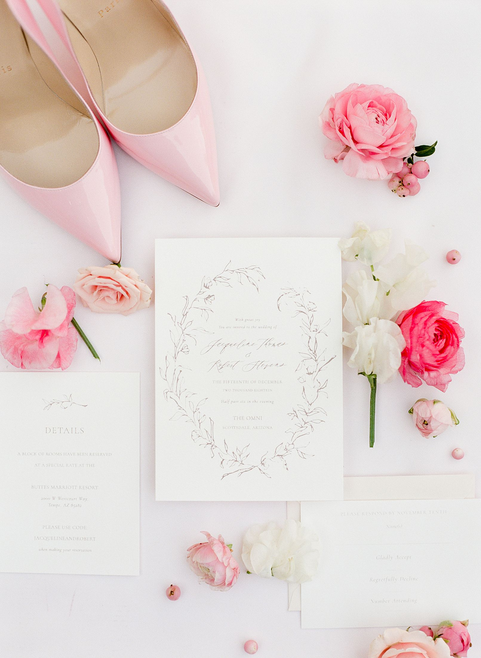 Pink Ombre Wedding Inspiration on Style Me Pretty - Royal Palms Wedding - Scottsdale Wedding - Ashley Baumgartner - Bloom and Blueprint - Wedding Puppies - Bulldog Puppies_0027.jpg