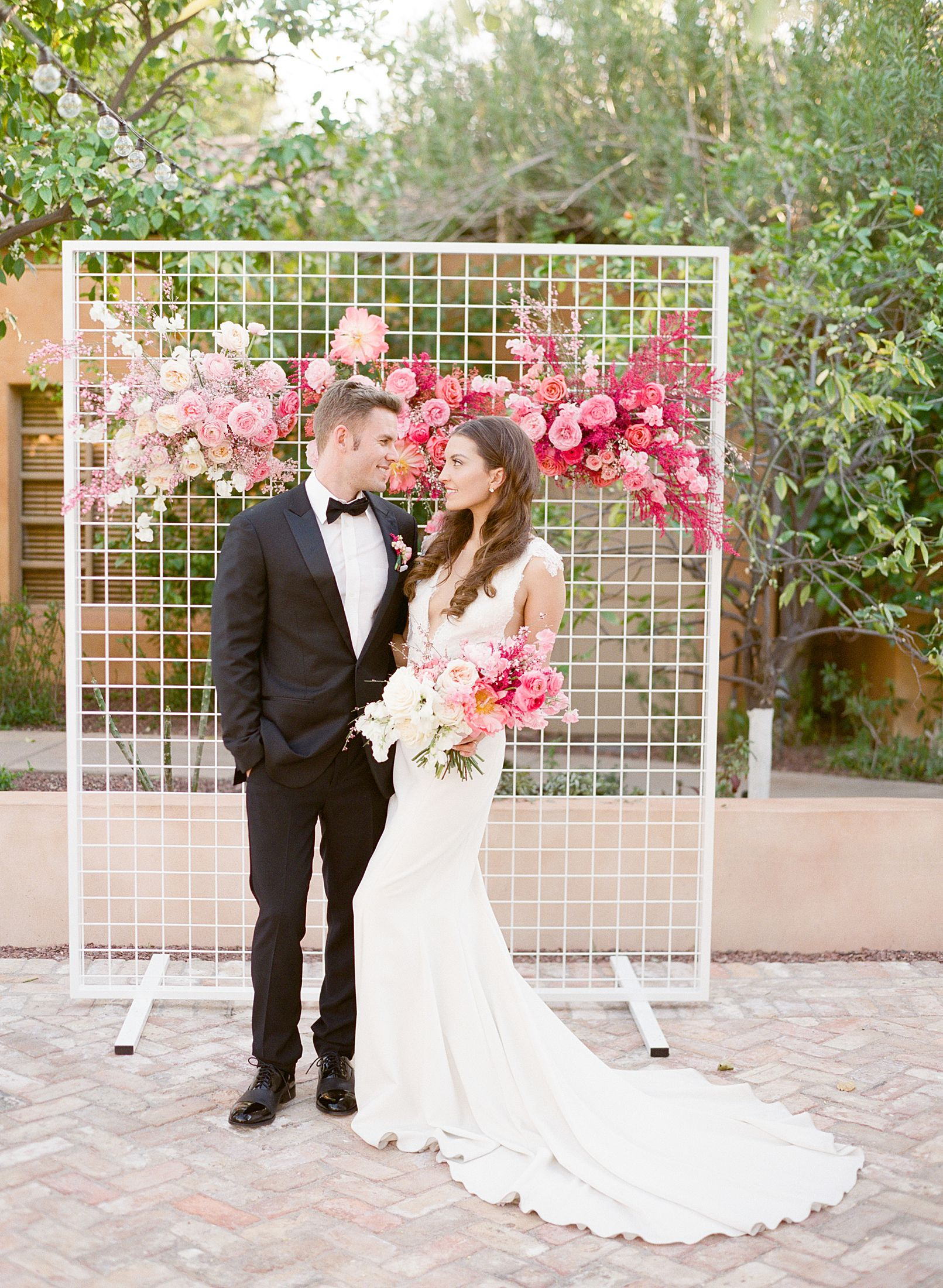 Pink Ombre Wedding Inspiration on Style Me Pretty - Royal Palms Wedding - Scottsdale Wedding - Ashley Baumgartner - Bloom and Blueprint - Wedding Puppies - Bulldog Puppies_0031.jpg